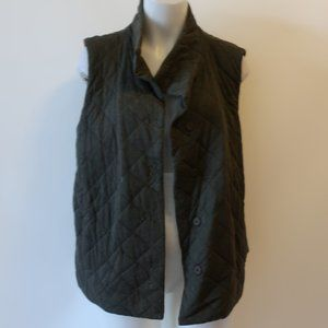EILEEN FISHER OLIVE GREEN QUILTED COTTON VEST XL *